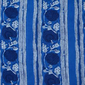 Blue and White Floral Pattern Block Print Fabric-4215