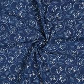 Blue and White Floral Pattern Indigo Cotton Block Print Fabric-14461