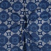 Blue and White Floral Pattern Indigo Cotton Block Print Fabric-14467