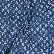 Blue and White Floral Pattern Indigo Cotton Block Print Fabric-14469