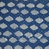 Blue and White Flower Pattern Block Print Cotton Fabric