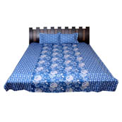 Blue and White Flower Printed Cotton Double Bed Sheet-0G44