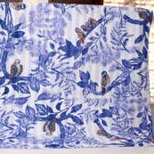 Blue and White Handmade Birds Pattern Kantha Quilt-4359