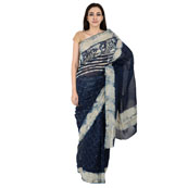 Blue and White Indigo Block Print Chanderi Saree-20149