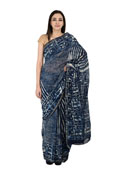 Blue and White Indigo Block Print Chanderi Saree-20151
