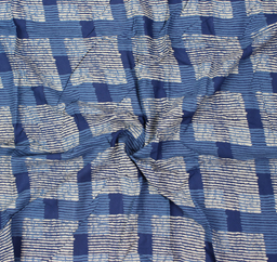 Blue and White Large Square Design Block Print Rayon Fabric-15053