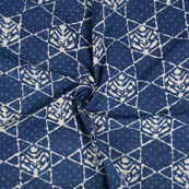 Blue and White Leaf Pattern Indigo Cotton Block Print Fabric-14491