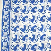 Blue and White Monkey Block Print Indian Cotton Fabric