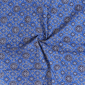 Blue and White Small Floral Ajrakh Design Block Print Cotton Fabric-14315