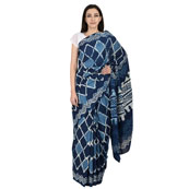 Blue and White Square Design Cotton Block Print Saree-20070