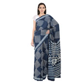 Blue and White Square Design Cotton Indigo Print Saree-20089