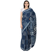 Blue and White Square Pattern Cotton Block Print Saree-20075