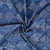 Blue and White Square With Polka Design Indigo Cotton Block Print Fabric-14388