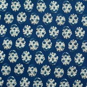 Blue and White Tree Pattern Block Print Cotton Fabric-RL4325