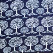 Blue and White Tree Pattern Block Print Cotton Fabric by the yard