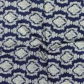 Blue and White Unique Design Block Print Cotton Fabric-14291