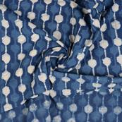 Blue and White Unique Design Indigo Cotton Block Print Fabric-14472