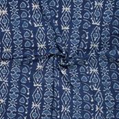 Blue and White Unique Pattern indigo Cotton Block Print Fabric-14486
