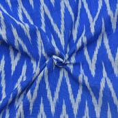 Blue and White Zig-Zag Pattern Ikat Fabric-12018