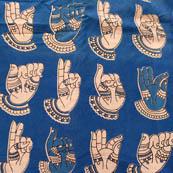 Blue and White large hand cotton Screen kalamkari fabric 4528
