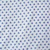 Blue and White leaf Block Print Fabric-4207