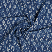 Blue and White Leaf Pattern Indigo Cotton Block Print Fabric-14462