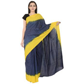 Blue and Yellow Cotton Shibori Print Saree-20105