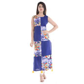 Blue and Yellow Sleeveless Appilque Work Cotton and Rayon Kurti-3045