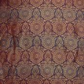 Blue and golden circular shape brocade silk fabric-5002