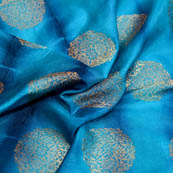 Blue and golden circular tie-dye brocade silk fabric-5045