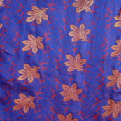 Blue and golden flower brocade silk fabric-5030