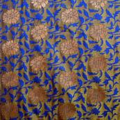 Blue and golden flower brocade silk fabric-5039