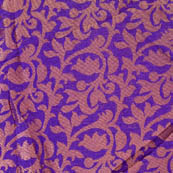 Blue and golden flower printed silk brocade fabric-4656