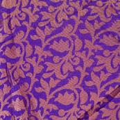 Blue and golden flower printed silk brocade fabric-4656