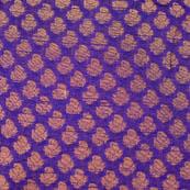 Blue and golden flower shape brocade silk fabric-4653