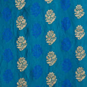 Blue and golden flower shape soft brocade silk fabric-5067