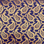 Blue and golden paisley brocade silk fabric-4984