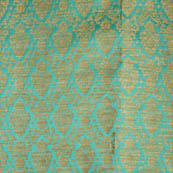 Blue and golden silk brocade fabric-5023