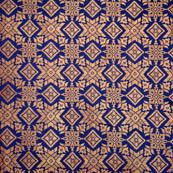 Blue and golden star shape brocade silk fabric-4974