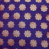 Blue and golden star shape brocade silk fabric-5010