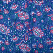 Blue and pink flower printed block fabric-4568