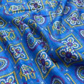 Blue bandhani foil printed kota doria fabric-4920
