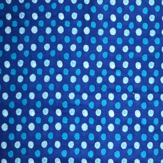 Blue dotted block print cotton fabric