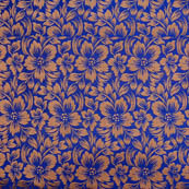 Blue golden flower silk brocade fabric-4993