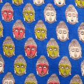 Blue-green and Pink small Buddha Pattern Cotton Kalamkari Fabric 4517