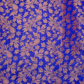Blue paisley flower shape brocade silk fabric-4970
