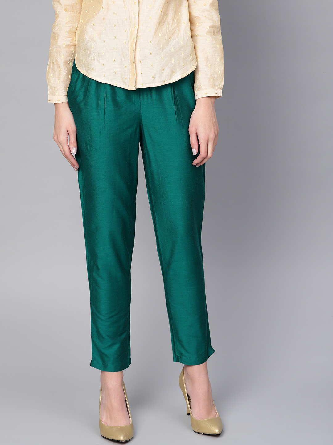 Bottle Green Cotton Silk Ankle Pant-34264