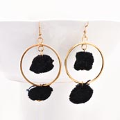 Brass Drop Black Handcrafted Pom Pom Earring for Women