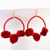 Brass Drop Maroon Handcrafted Pom Pom with Red pearls Earring for Women