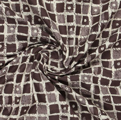 Brown Beige Block Print Cotton Fabric-16048